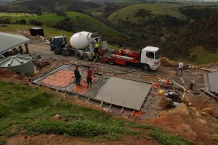 The cottage slab being poured.
